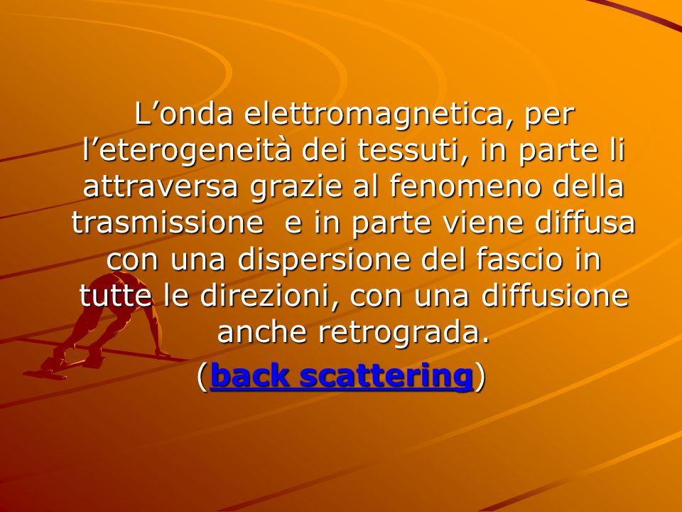 L'onda elettromagnetica, per l'eterogeneità dei tessuti, in parte li attraversa grazie al fenomeno della trasmissione e in parte viene diffusa con una dispersione del fascio in tutte le direzioni, con una diffusione anche retrograda.