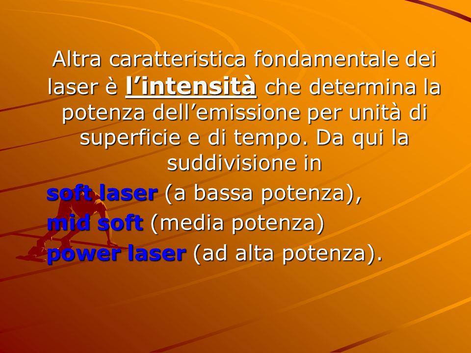 Altra caratteristica fondamentale dei laser è l'intensità che determina la potenza dell'emissione per unità di superficie e di tempo. Da qui la suddivisione in