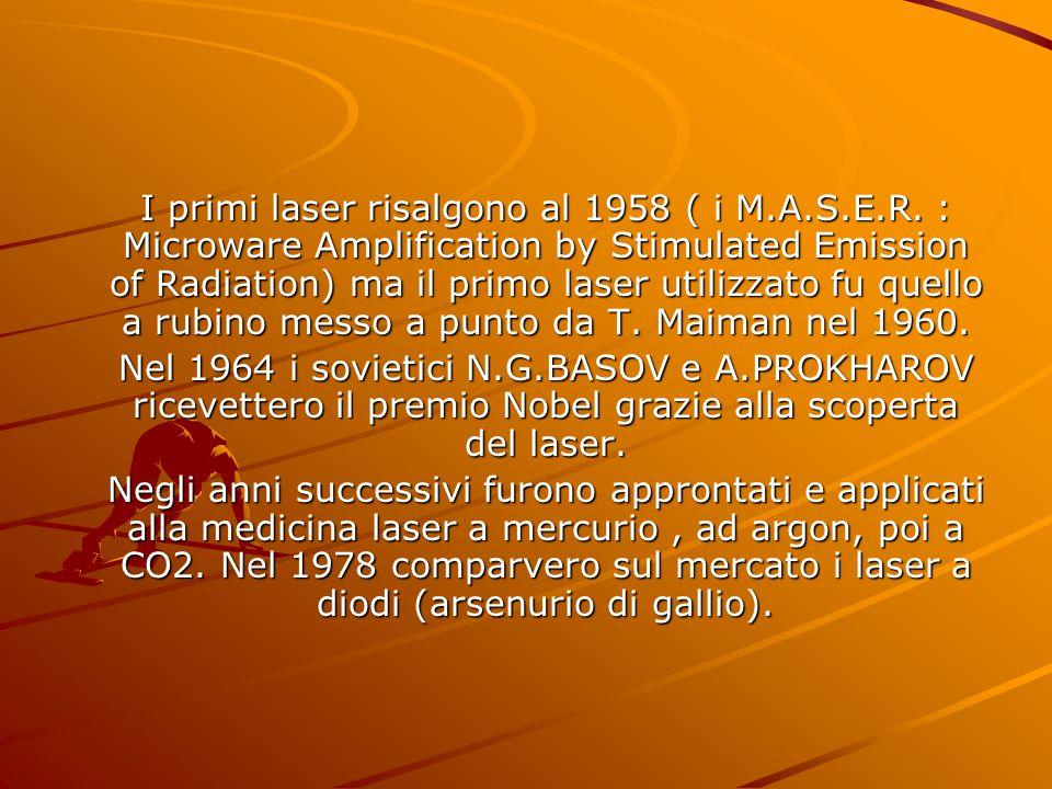 I primi laser risalgono al 1958 ( i M. A. S. E. R