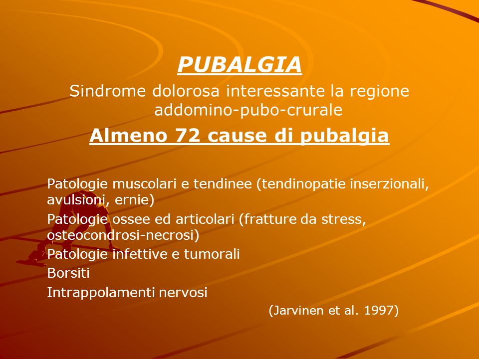 Almeno 72 cause di pubalgia