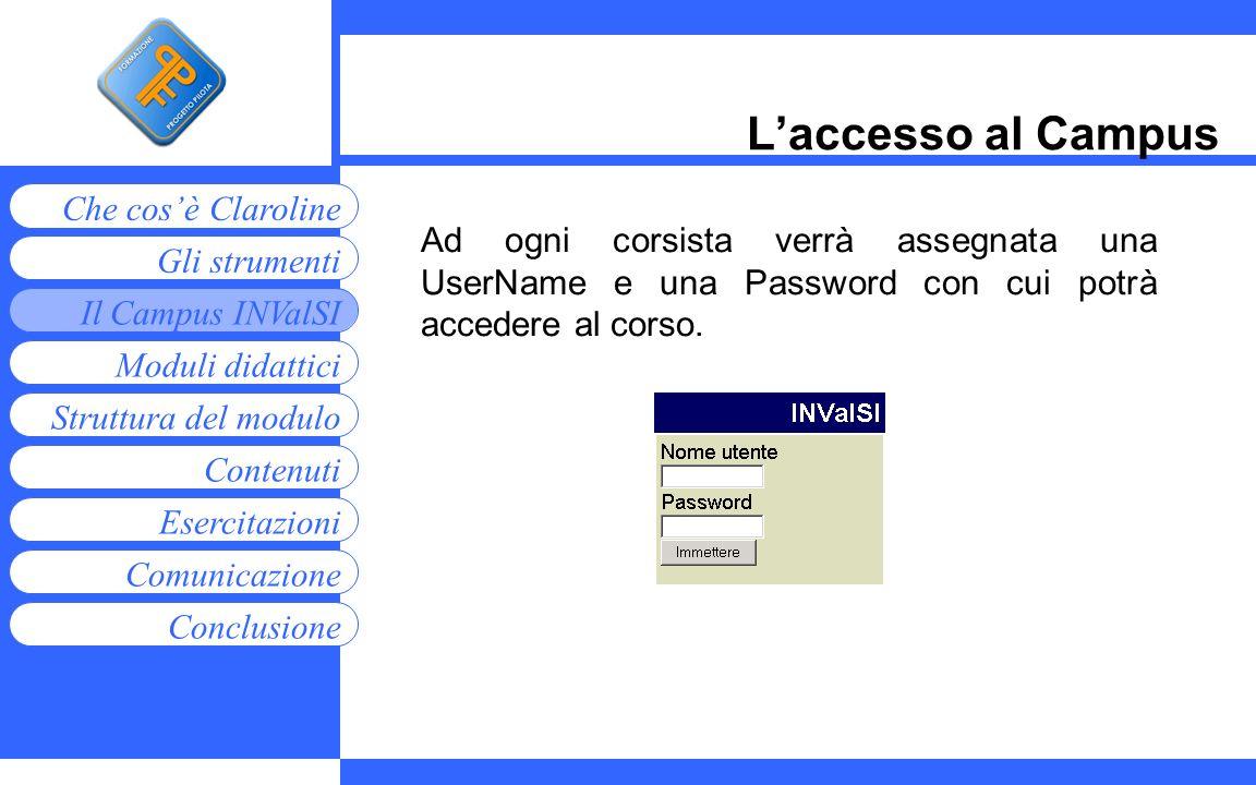 L'accesso al Campus Ad ogni corsista verrà assegnata una UserName e una Password con cui potrà accedere al corso.