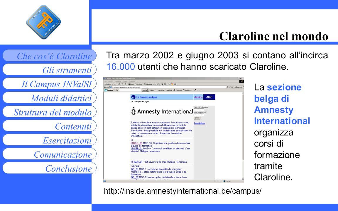 Claroline nel mondo Tra marzo 2002 e giugno 2003 si contano all'incirca 16.000 utenti che hanno scaricato Claroline.