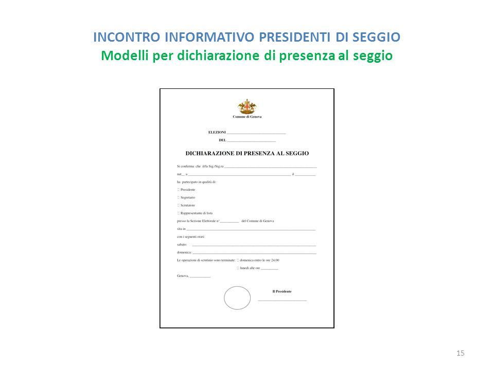 INCONTRO INFORMATIVO PRESIDENTI DI SEGGIO Modelli per dichiarazione di presenza al seggio