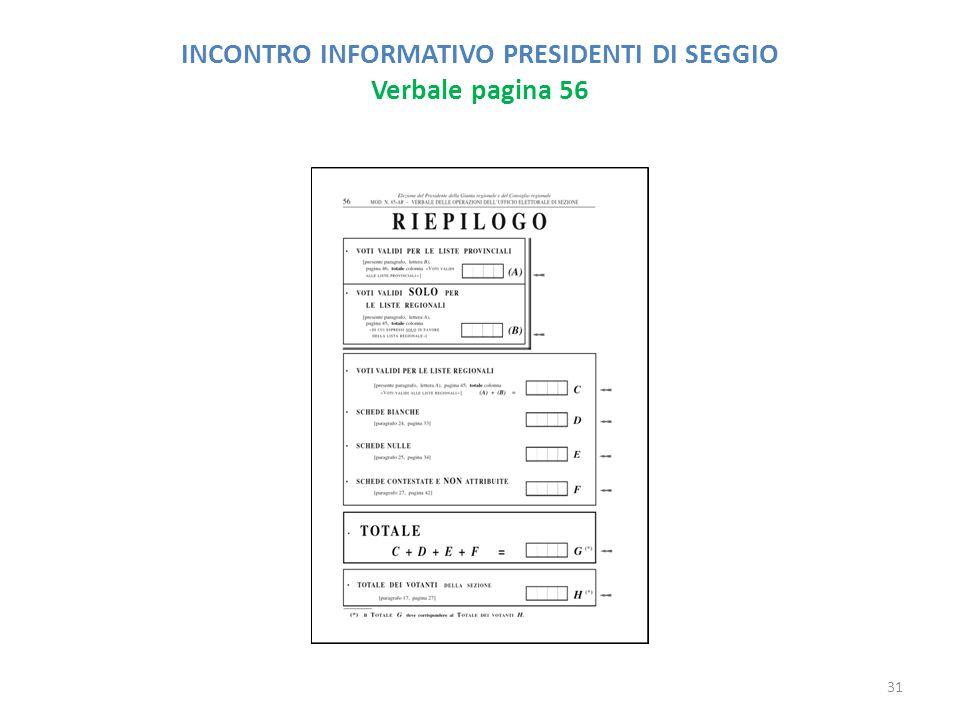 INCONTRO INFORMATIVO PRESIDENTI DI SEGGIO Verbale pagina 56