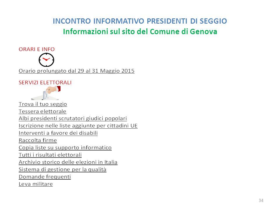 INCONTRO INFORMATIVO PRESIDENTI DI SEGGIO Informazioni sul sito del Comune di Genova