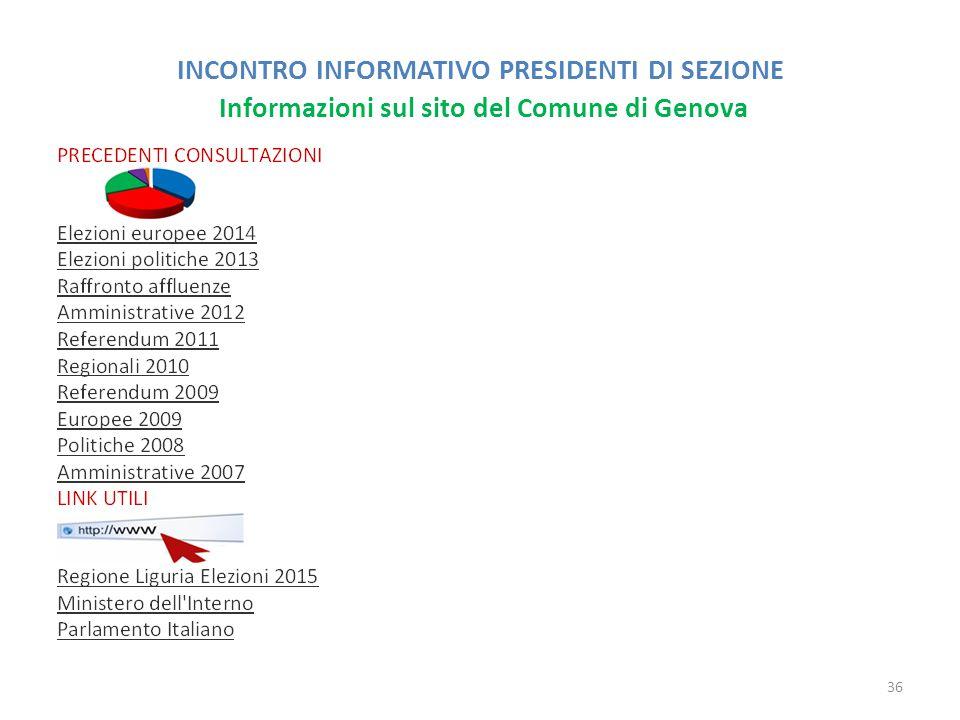 INCONTRO INFORMATIVO PRESIDENTI DI SEZIONE Informazioni sul sito del Comune di Genova