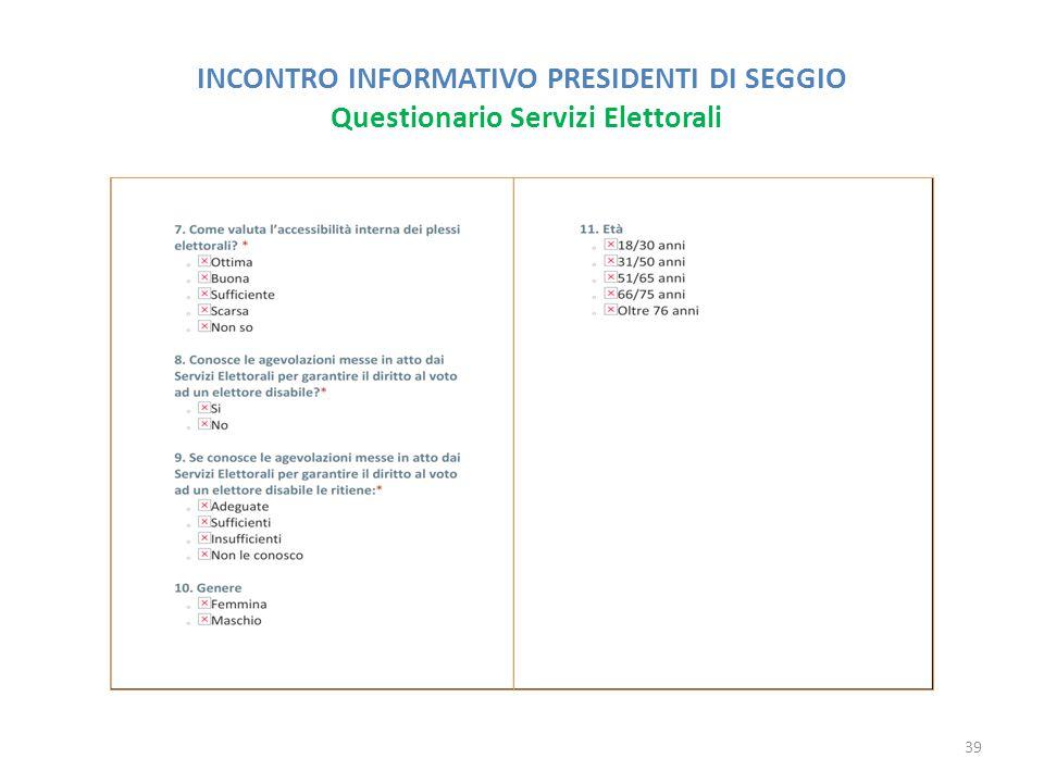 INCONTRO INFORMATIVO PRESIDENTI DI SEGGIO Questionario Servizi Elettorali