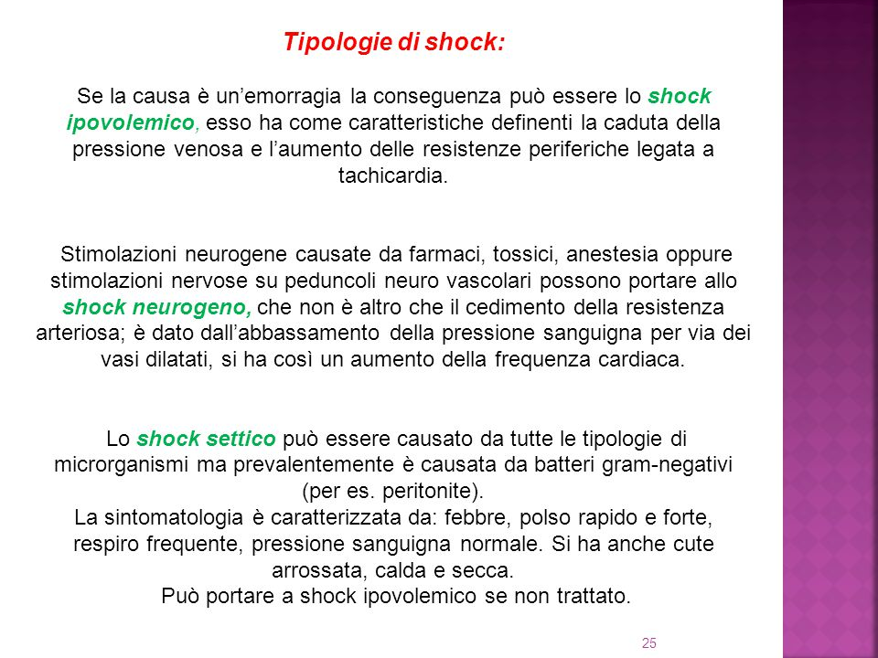 Tipologie di shock: