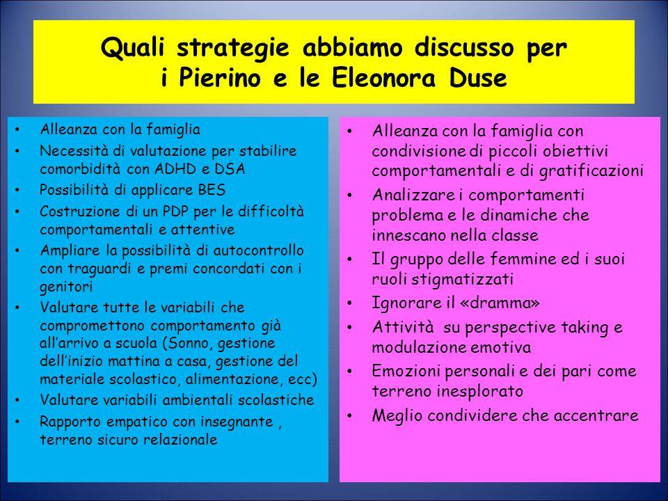 Quali strategie abbiamo discusso per i Pierino e le Eleonora Duse
