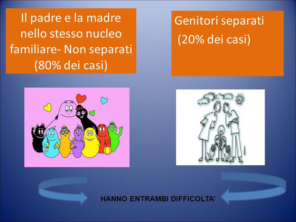 Il padre e la madre nello stesso nucleo familiare- Non separati (80% dei casi)