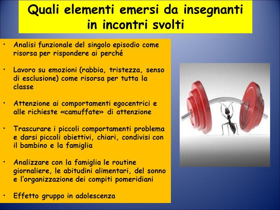 Quali elementi emersi da insegnanti in incontri svolti