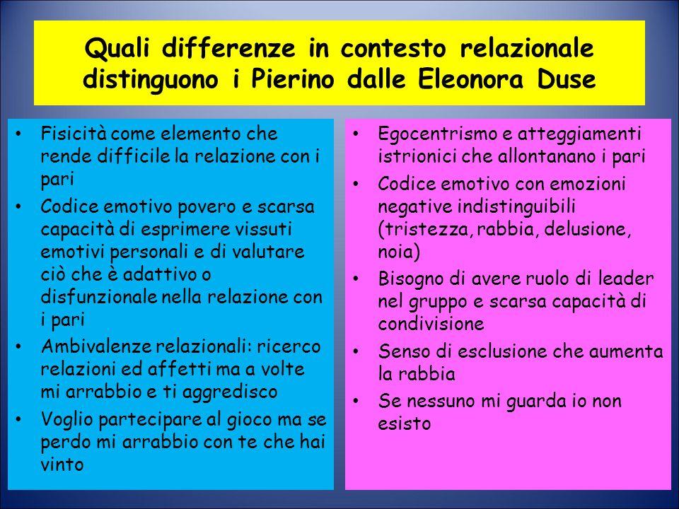 Quali differenze in contesto relazionale distinguono i Pierino dalle Eleonora Duse