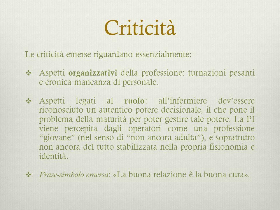 Criticità Le criticità emerse riguardano essenzialmente: