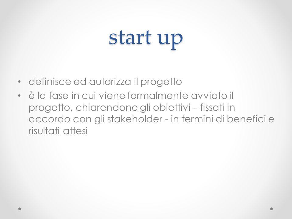 start up definisce ed autorizza il progetto