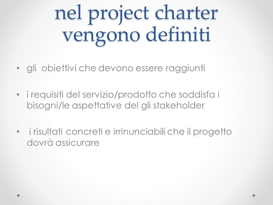 nel project charter vengono definiti