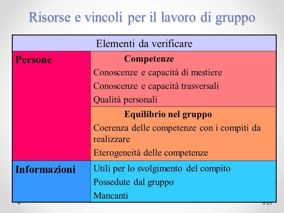 Risorse e vincoli per il lavoro di gruppo
