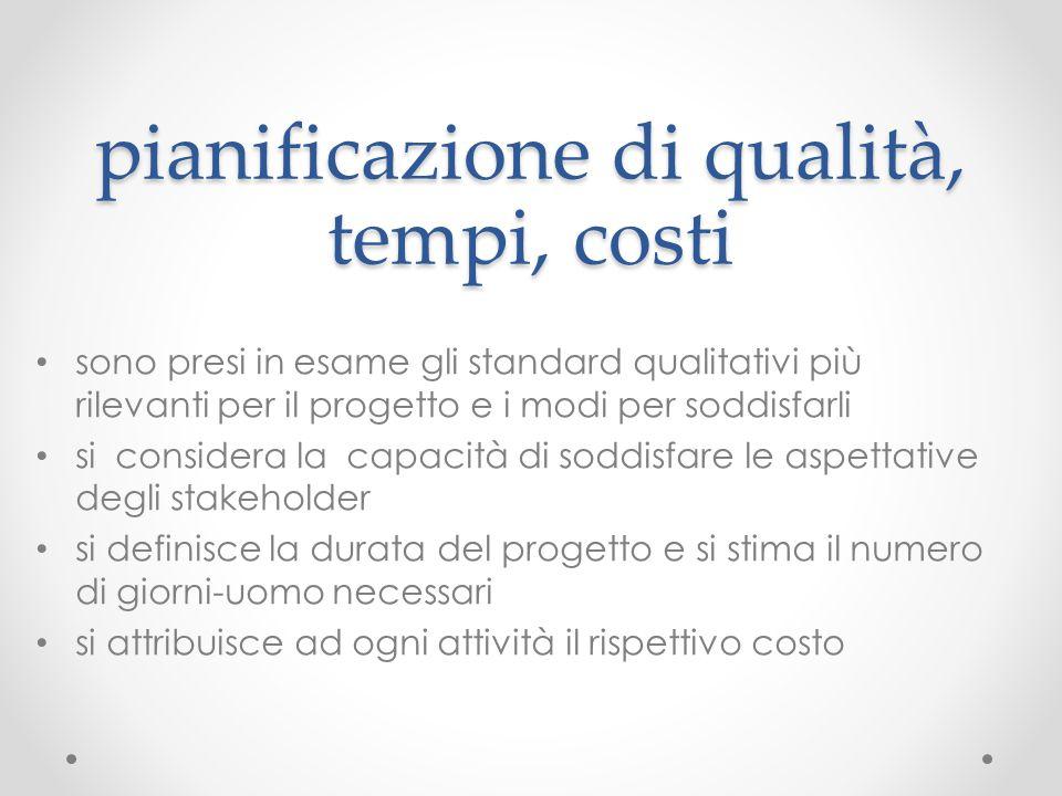 pianificazione di qualità, tempi, costi