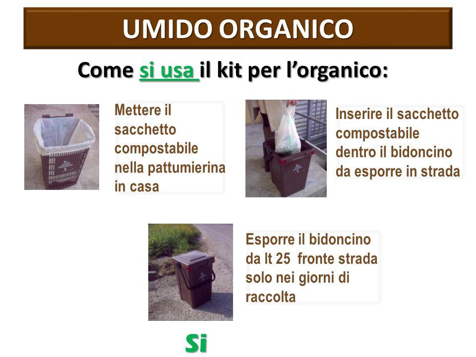 UMIDO ORGANICO Si Come si usa il kit per l'organico: