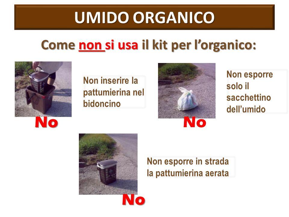 UMIDO ORGANICO No No No Come non si usa il kit per l'organico:
