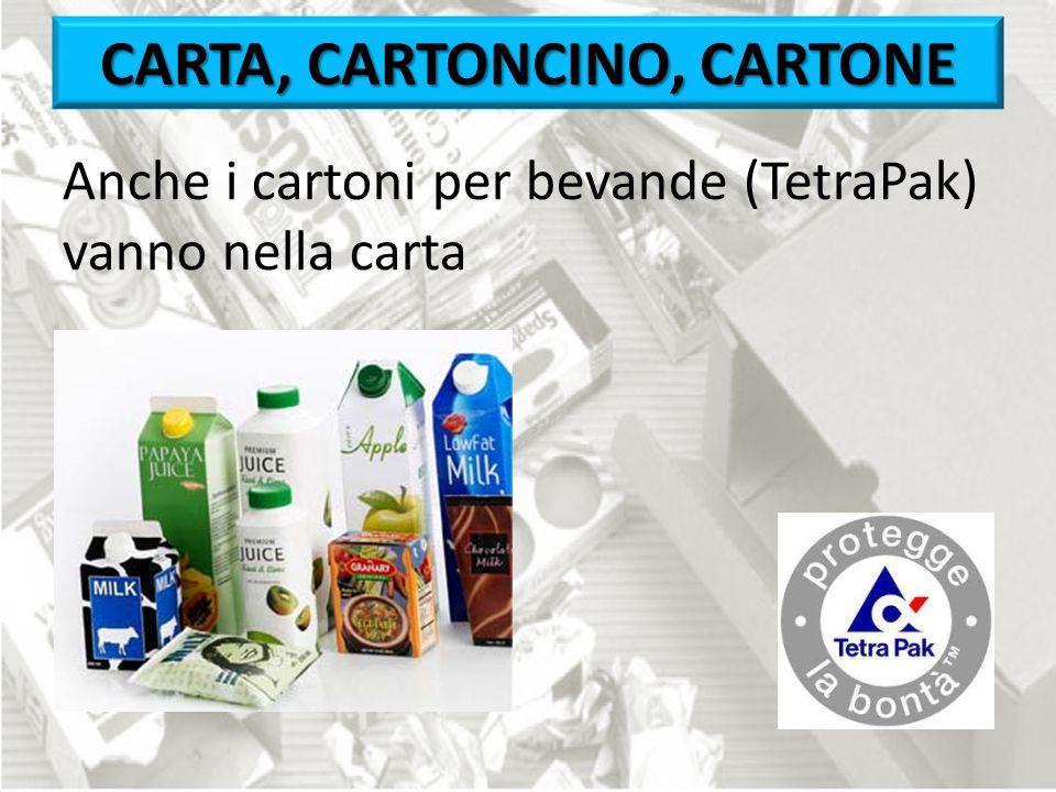 Anche i cartoni per bevande (TetraPak) vanno nella carta