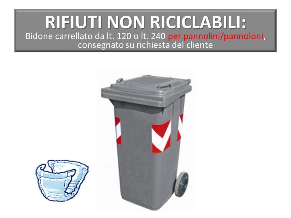 RIFIUTI NON RICICLABILI: Bidone carrellato da lt. 120 o lt
