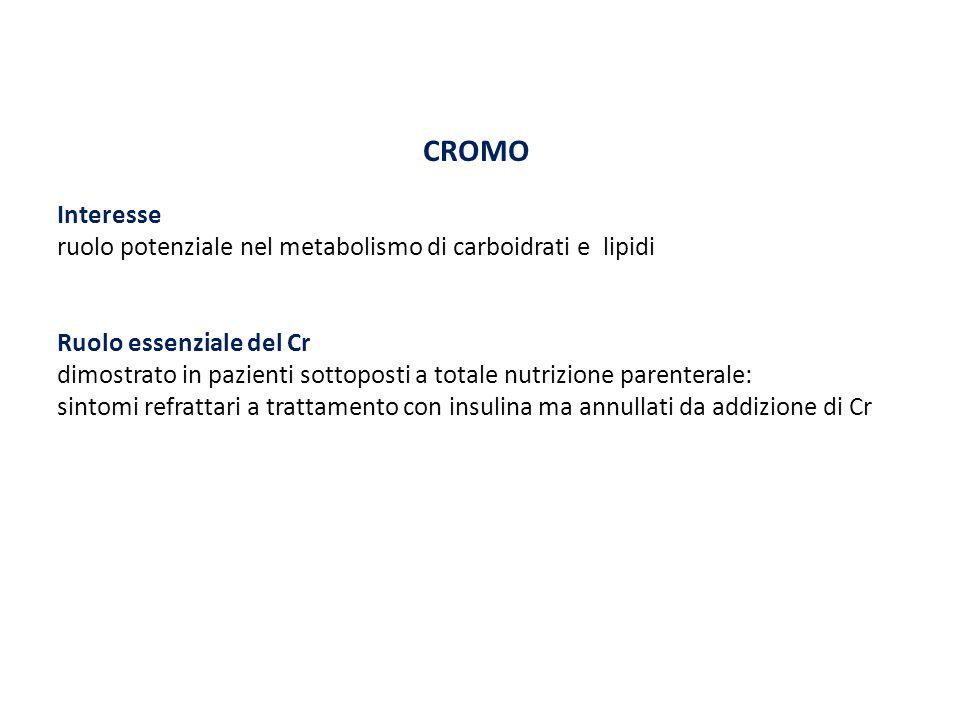 CROMO Interesse. ruolo potenziale nel metabolismo di carboidrati e lipidi. Ruolo essenziale del Cr.