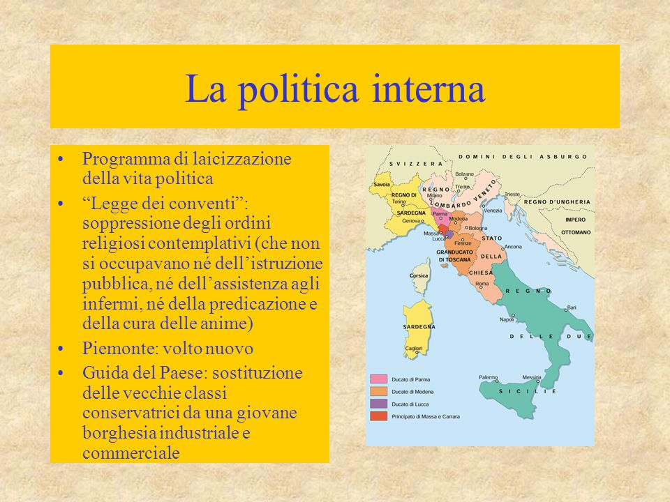 La politica interna Programma di laicizzazione della vita politica