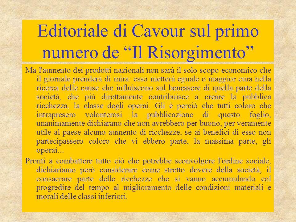 Editoriale di Cavour sul primo numero de Il Risorgimento