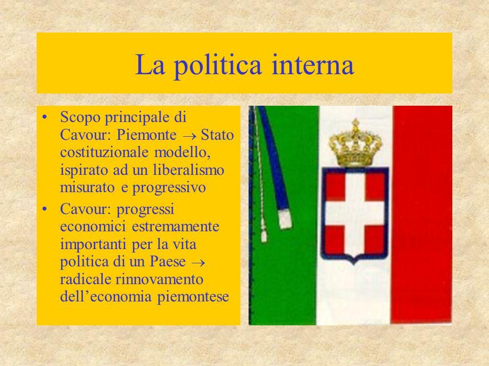 La politica interna Scopo principale di Cavour: Piemonte  Stato costituzionale modello, ispirato ad un liberalismo misurato e progressivo.