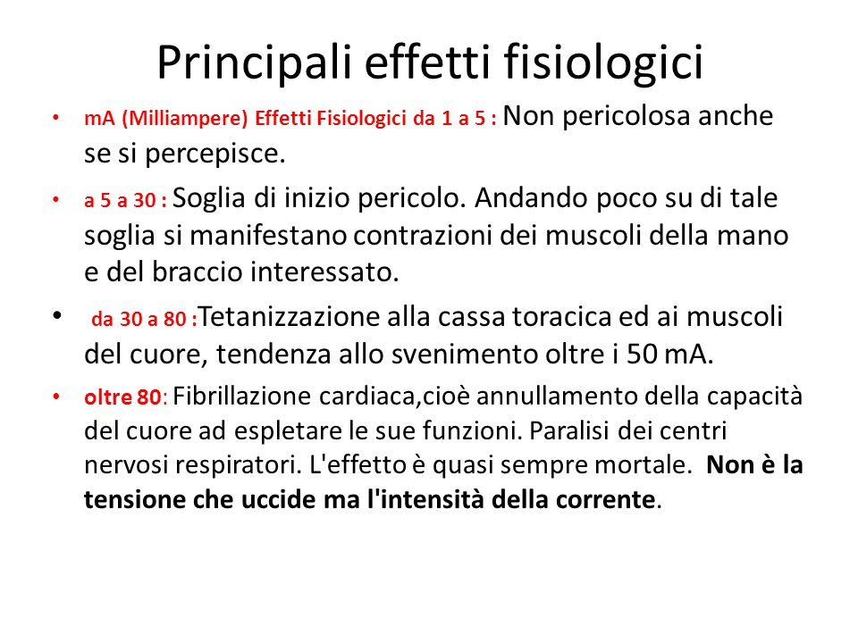 Principali effetti fisiologici