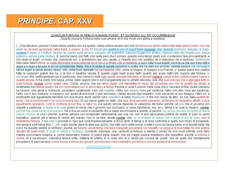 PRINCIPE, CAP. XXV QUANTUM FORTUNA IN REBUS HUMANIS POSSIT, ET QUOMODO ILLI SIT OCCURRENDUM.