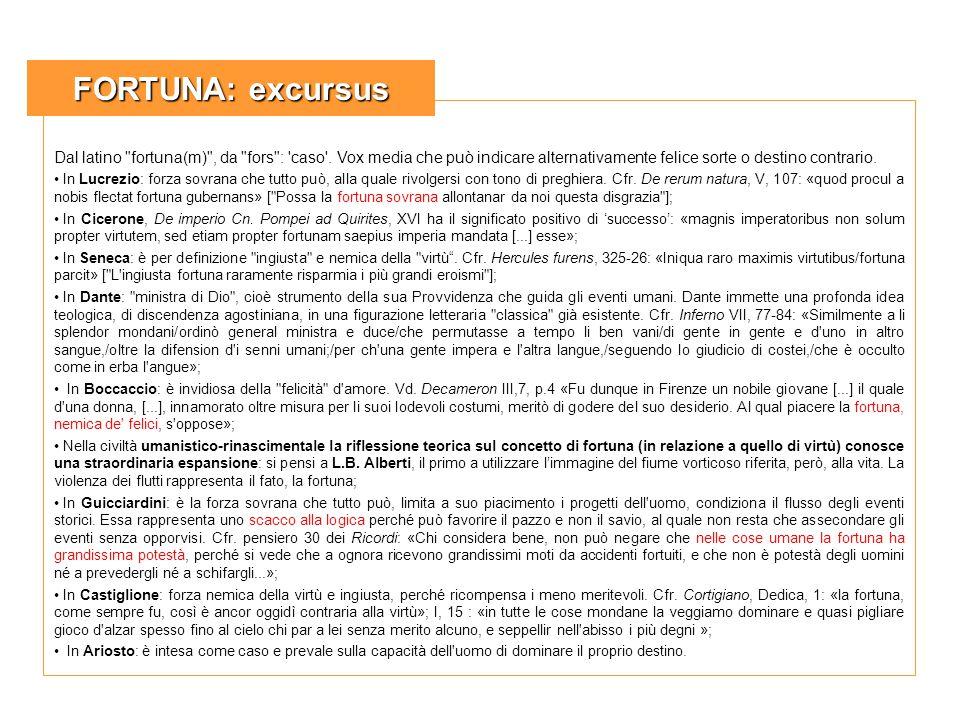 FORTUNA: excursus Dal latino fortuna(m) , da fors : caso . Vox media che può indicare alternativamente felice sorte o destino contrario.