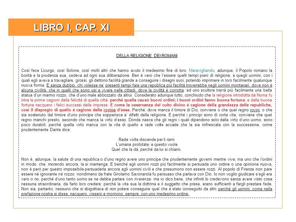 LIBRO I, CAP. XI DELLA RELIGIONE DEI ROMANI