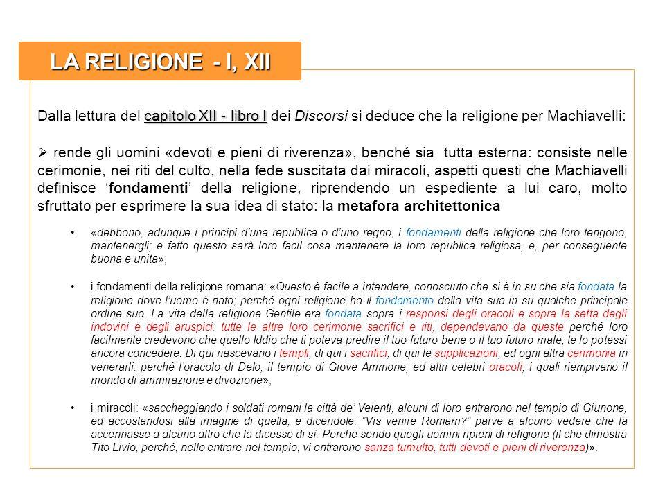 LA RELIGIONE - I, XII Dalla lettura del capitolo XII - libro I dei Discorsi si deduce che la religione per Machiavelli: