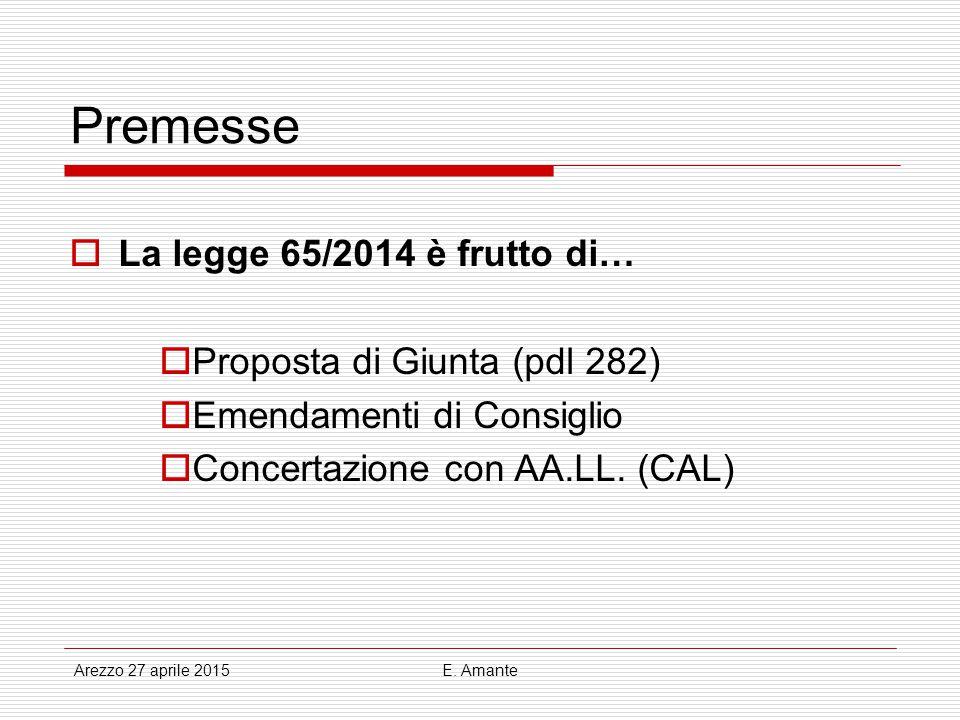 Premesse La legge 65/2014 è frutto di… Proposta di Giunta (pdl 282)