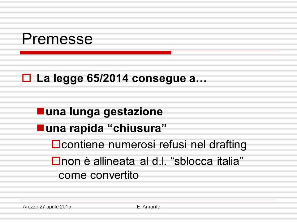 Premesse La legge 65/2014 consegue a… una lunga gestazione