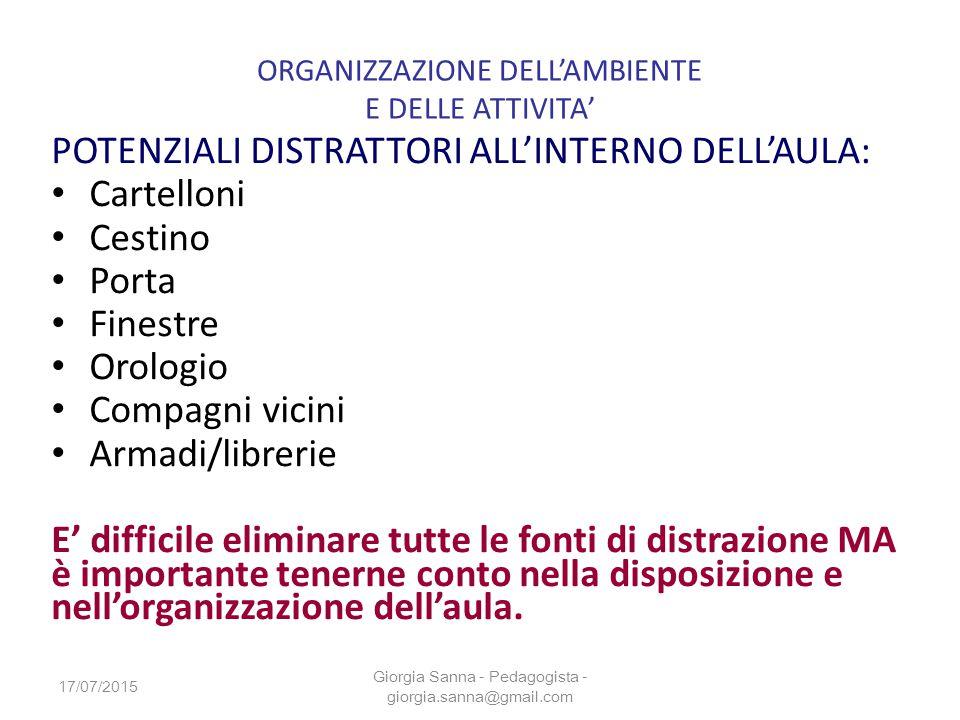 ORGANIZZAZIONE DELL'AMBIENTE E DELLE ATTIVITA'