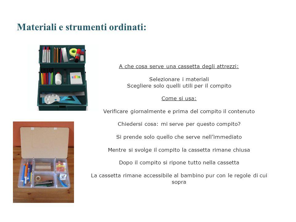 Materiali e strumenti ordinati: