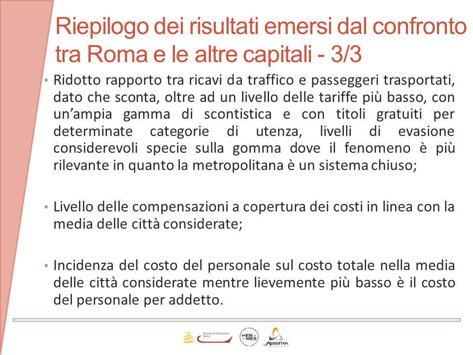 Riepilogo dei risultati emersi dal confronto tra Roma e le altre capitali - 3/3