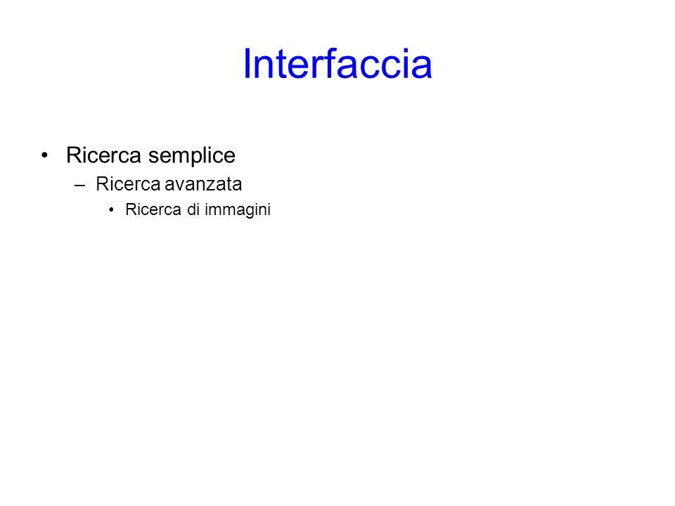 Interfaccia Ricerca semplice Ricerca avanzata Ricerca di immagini