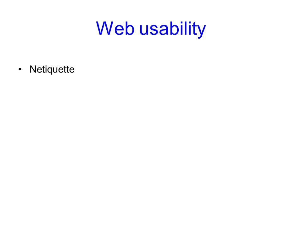 Web usability Netiquette Web usability