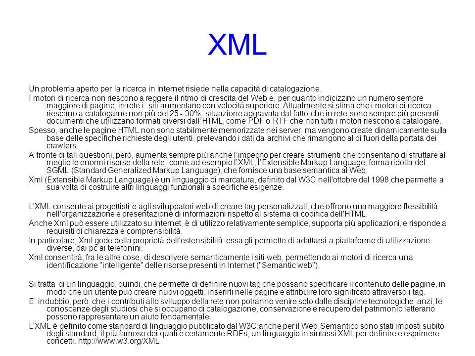 XML Un problema aperto per la ricerca in Internet risiede nella capacità di catalogazione.