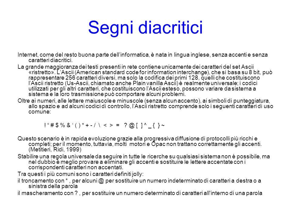 Segni diacritici Internet, come del resto buona parte dell'informatica, è nata in lingua inglese, senza accenti e senza caratteri diacritici.