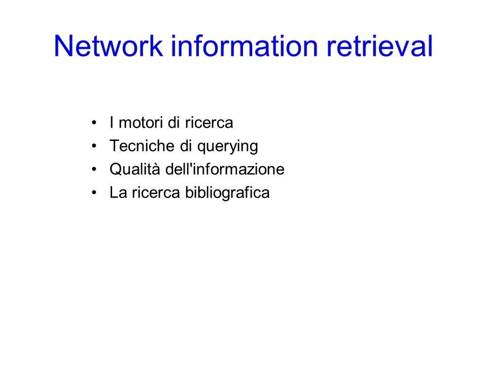 Network information retrieval
