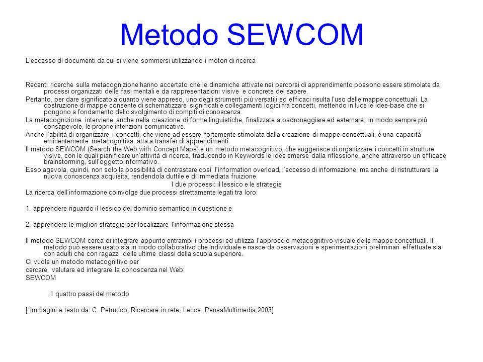 Metodo SEWCOM L eccesso di documenti da cui si viene sommersi utilizzando i motori di ricerca.