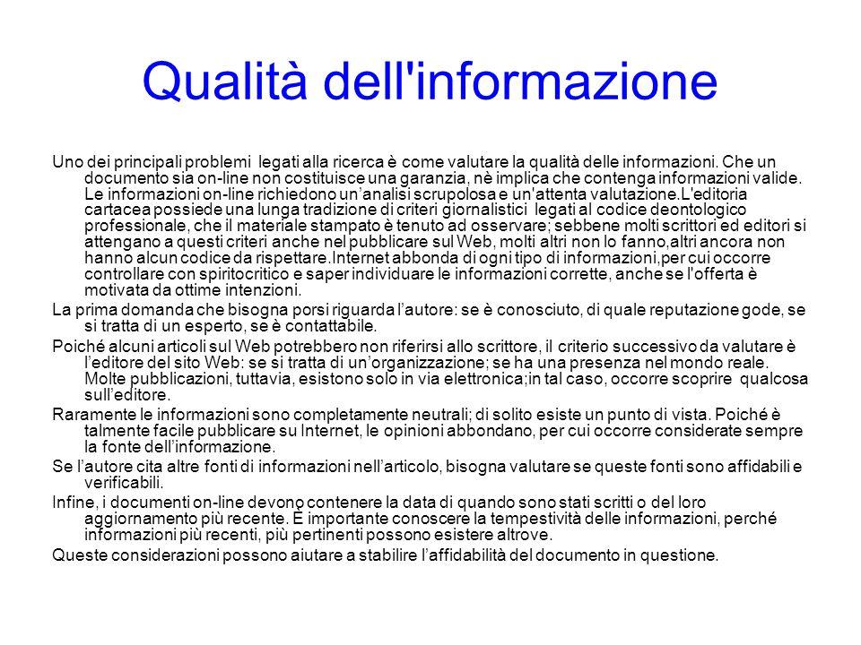 Qualità dell informazione