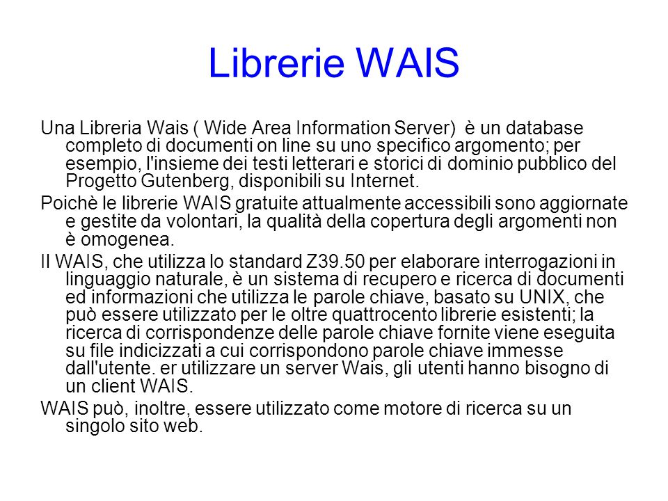 Librerie WAIS