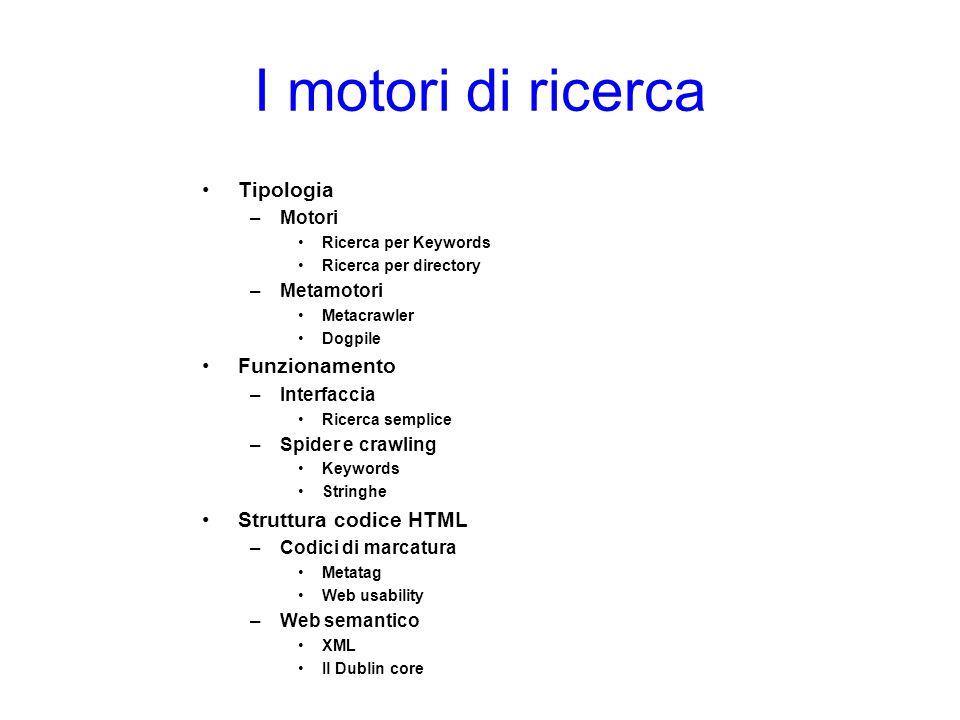 I motori di ricerca Tipologia Funzionamento Struttura codice HTML