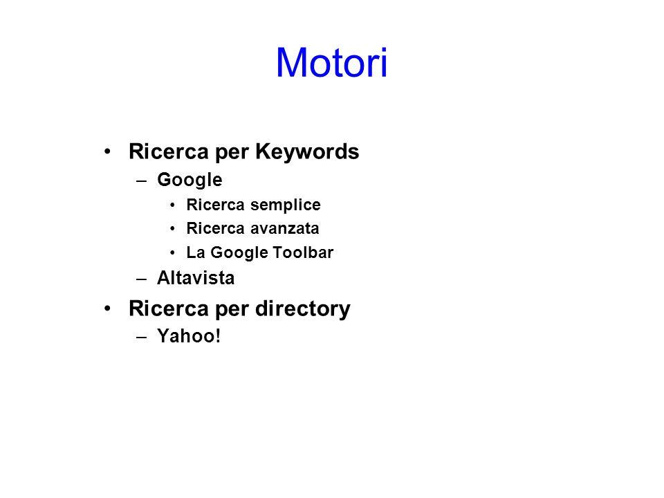 Motori Ricerca per Keywords Ricerca per directory Google Altavista