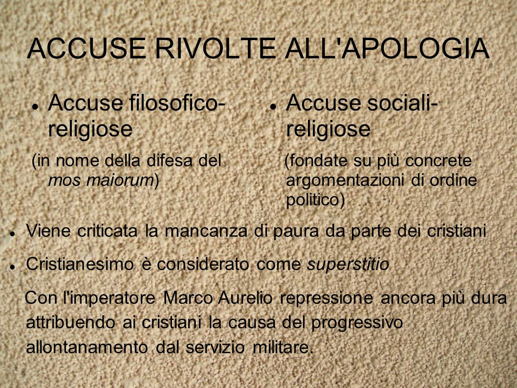 ACCUSE RIVOLTE ALL APOLOGIA